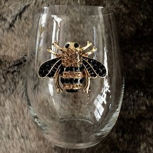 New Stemless Wineglass Bee Crystals Queens Jewels